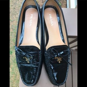 Prada black patent leather driving moccasins